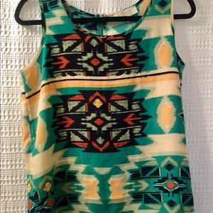 NWOT Tribal print sleeveless top by Olive and Oak
